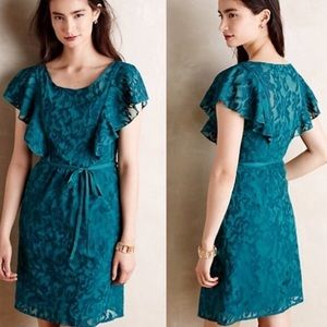 Moulinette Souers Scrollwork Flutter Dress Teal